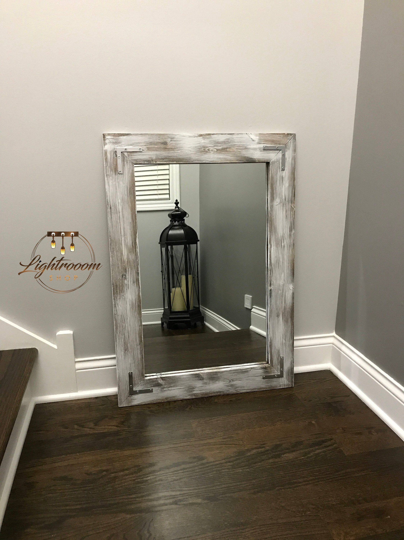 Whitewash Mirror Wood Framed Mirror Rustic Wood Mirror Bathroom Mirror Wall Mirror Vanity Mirror Small Mirr Wood Framed Mirror Rustic Mirrors Wood Mirror