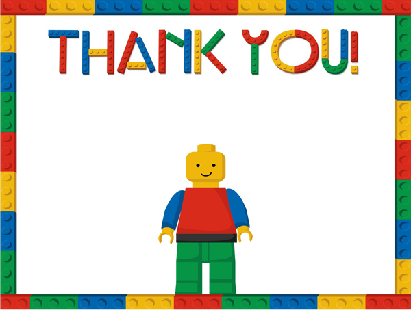 Free LEGO Thank You Template – Printable Lego Party Invitations