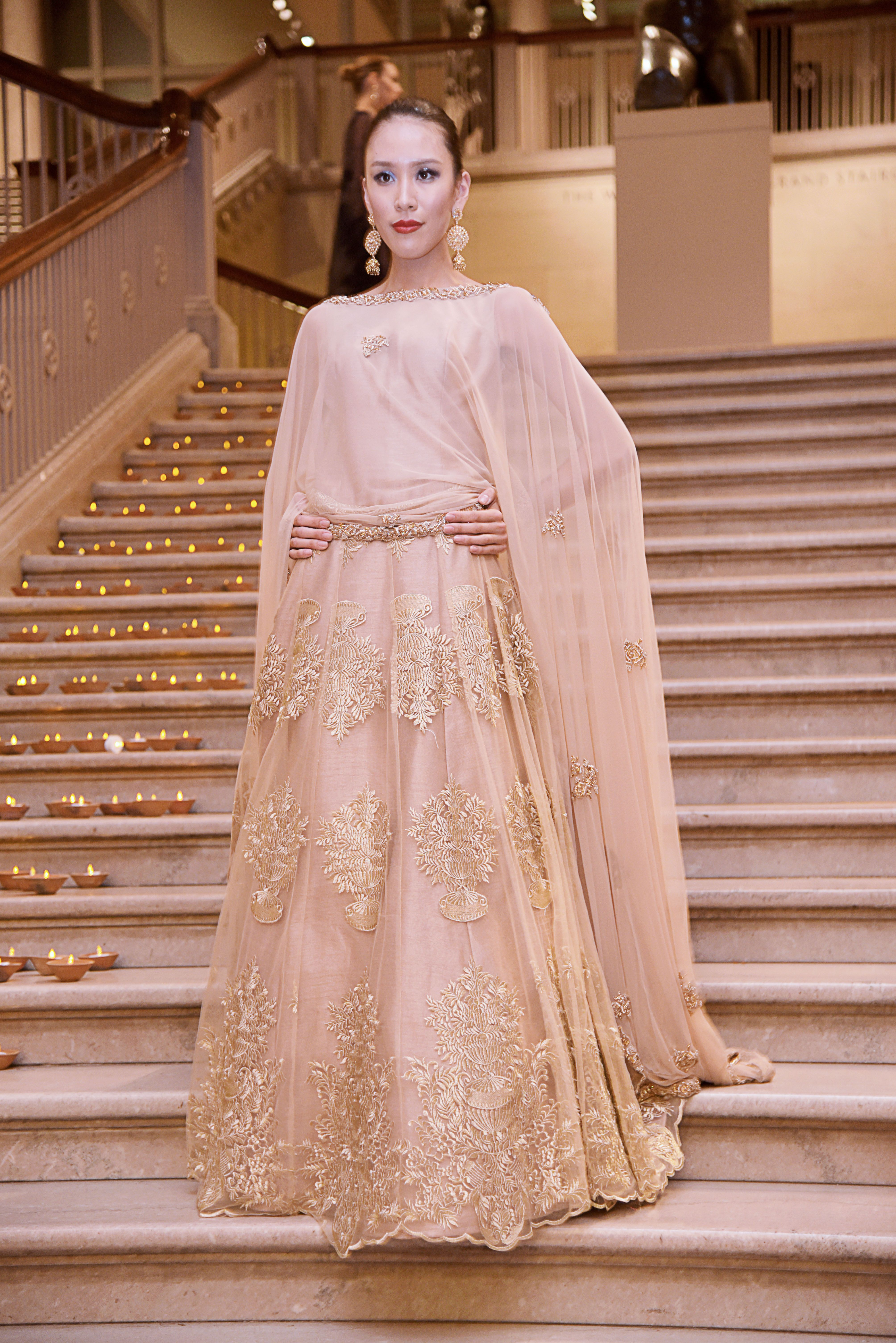 CHAMPAGNE CAPE GOWN Embroidery: ZARI and THREAD WORK. Fabric: Raw ...