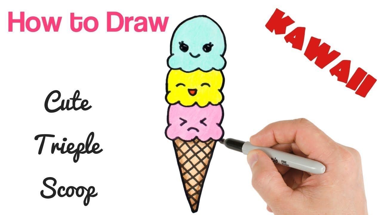 How to Draw Cute Ice Cream Triple Scoop | Kawaii food ...
