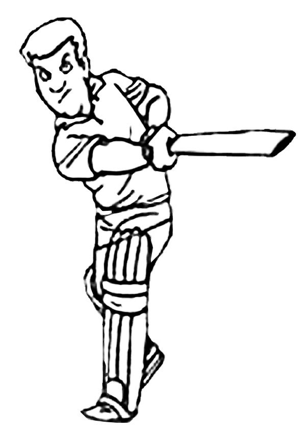 Free Online Cricket Batter Colouring Page - Kids Activity ...