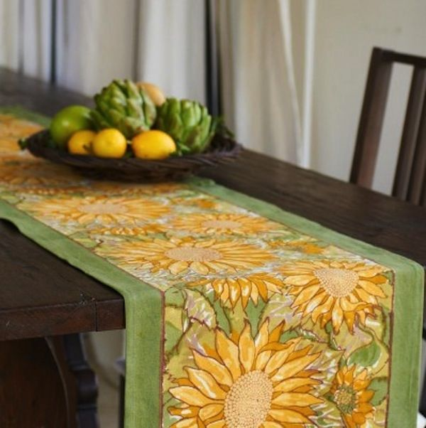 sunflower kitchen decor sunflower table runner yellow green tabletop kitchen