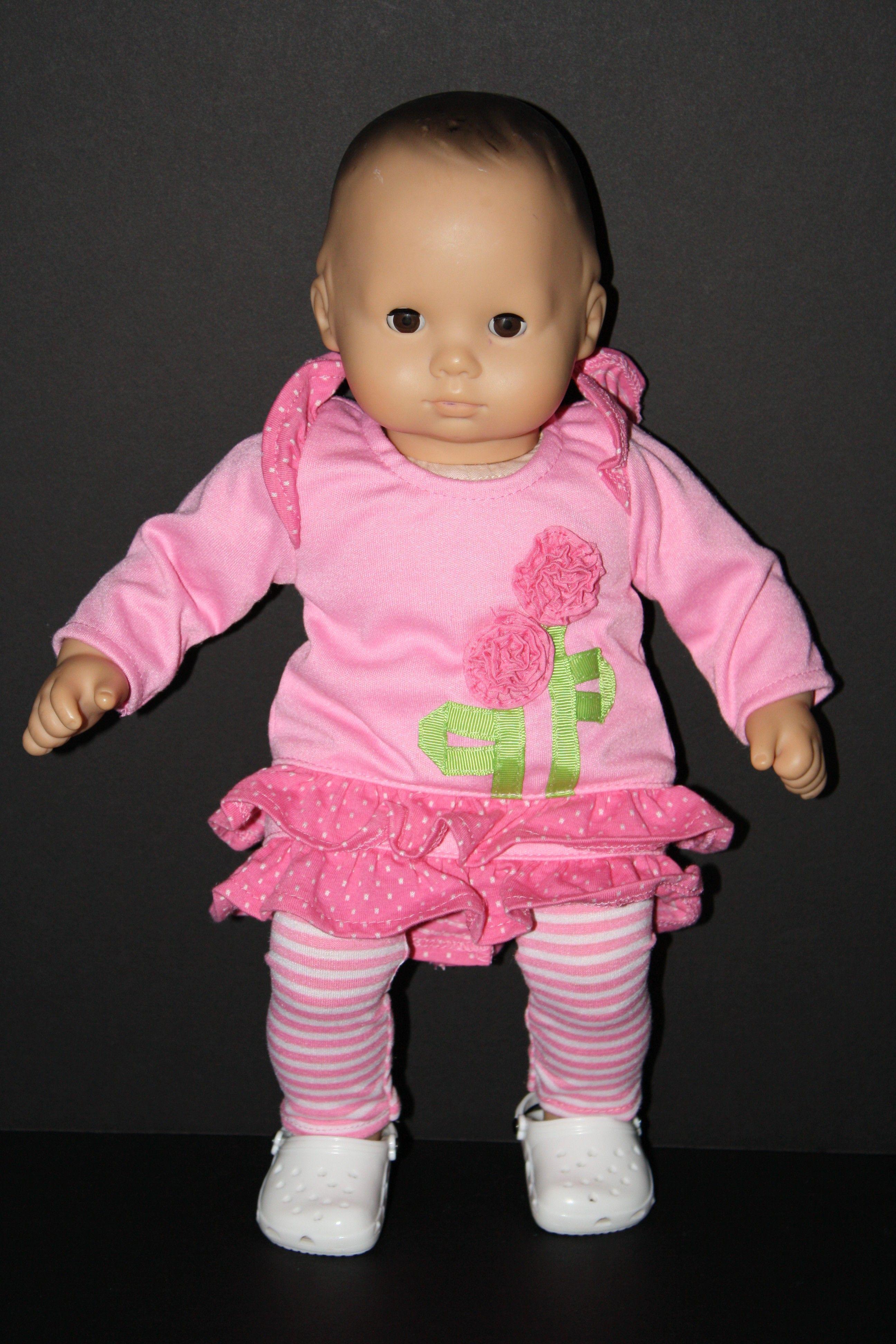 Pink Flower Ruffle Dress and Striped Leggings for American Girl