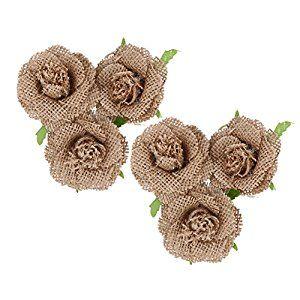 Amazon.com: Diamondo 6X Natural Jute Hessian Flower Handmade Burlap Rose Vintage Wedding Decoration: Home & Kitchen