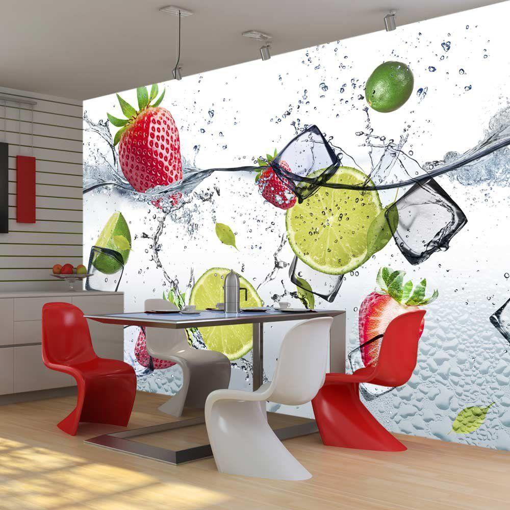 Foto Tapete für Küche Bad Motiv Erdbeeren Wand Bilder Deko Ideen Wand Dekoration