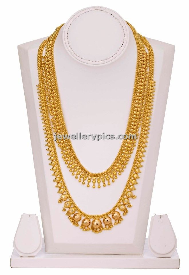Lalitha jewellers gold gundla Haram in two steps with beads model ...