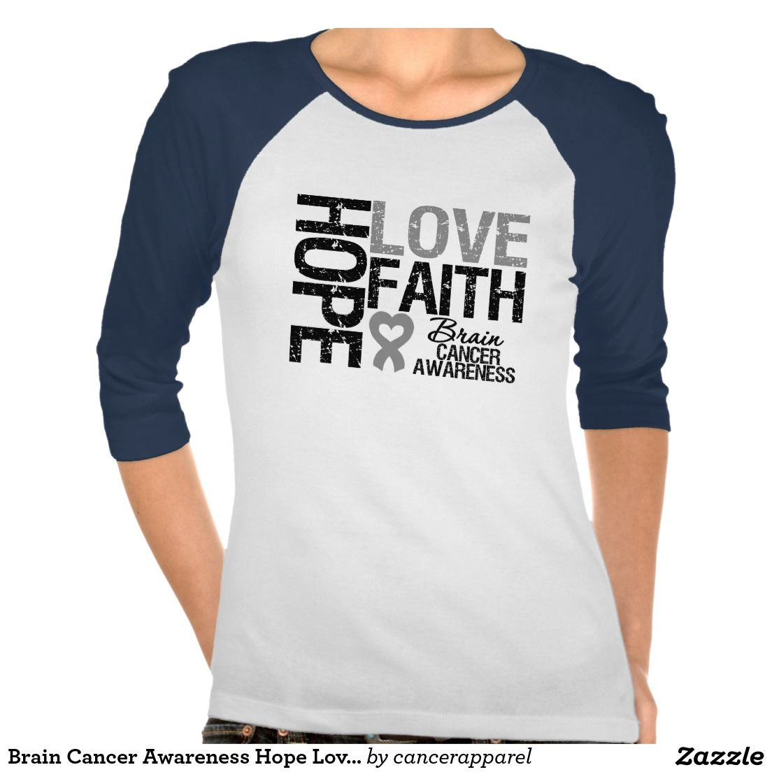 Brain Cancer Awareness Hope Love Faith Tshirts