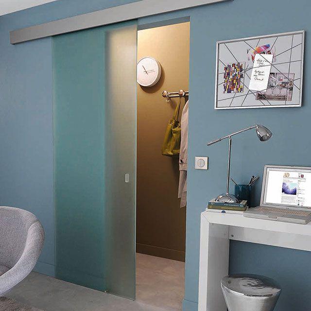 Porte coulissante verre d poli geom kidal 83 cm salle de bains new homes salons et home - Castorama porte interne ...