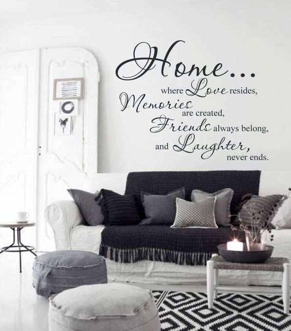 Muursticker home love memories muurstickers teksten for Muurteksten woonkamer