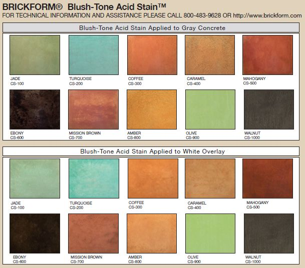 Blush Tone Acid Stain Color Chart An Exclusive Line Of Concrete