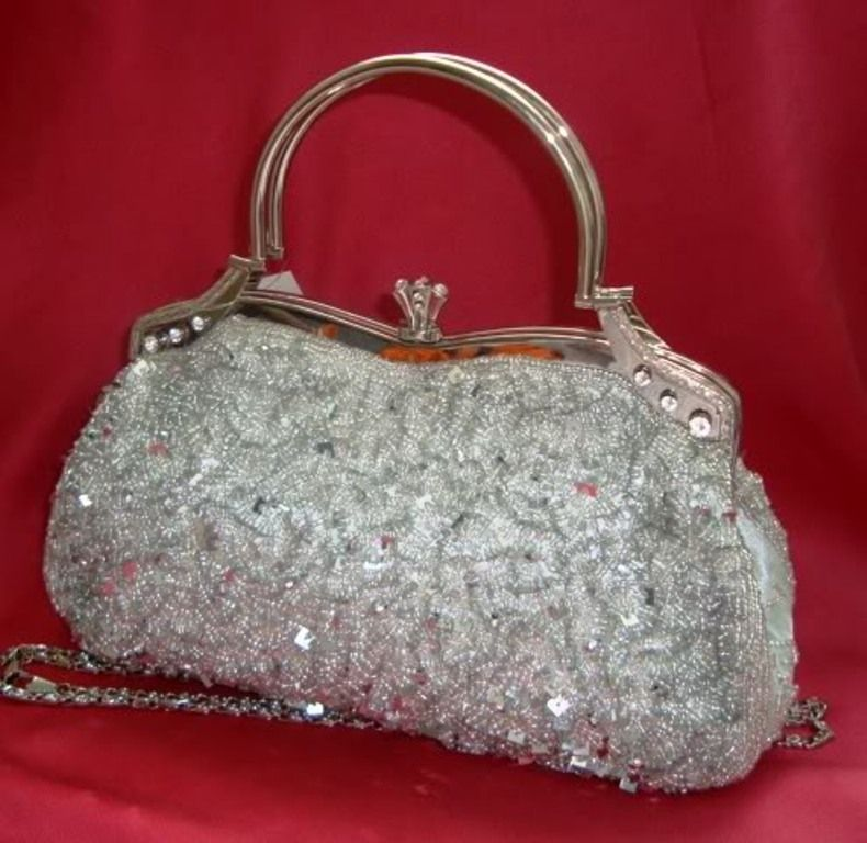 17 48 Bin Silver Satin Diamante Sequin Crystal Clutch Bag Purse Evening Party Wedding Prom