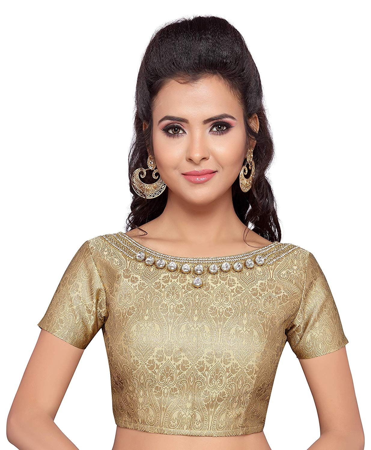 80b45f2d554959 STUDIO SHRINGAAR WOMEN'S GOLDEN BROCADE SAREE BLOUSE WITH STONEWORK  NECKLINE AND SHORT SLEEVES: Amazon.in: Clothing & Accessories
