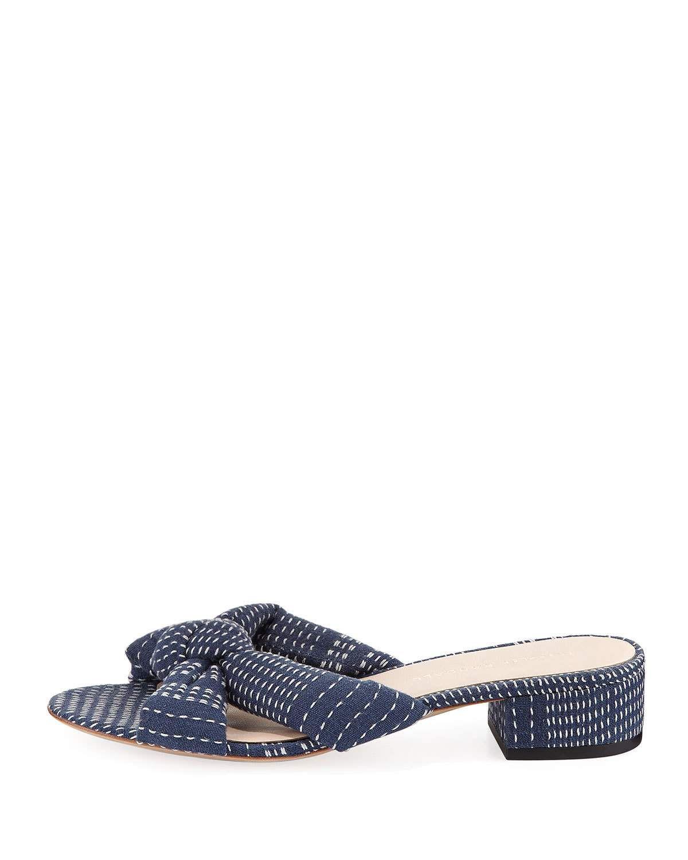 Loeffler Randall Elsie Stitched Denim Mule Sandal XL47s