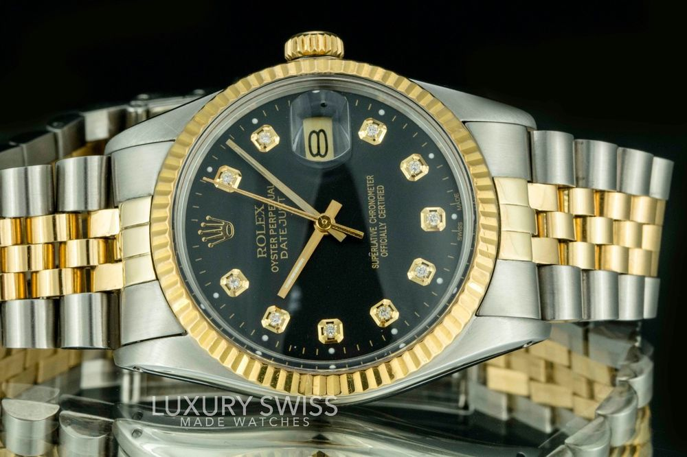 db1628690ae Rolex Men s Datejust Two-Tone 36mm Black Diamond Dial Fluted Bezel -  Pre-Owned  rolex  menswatches  watchesformen