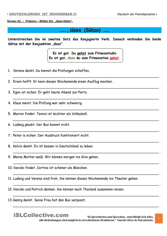 a1 dass s tze teil c deutsch deutsche sprache deutsch und deutsch lernen. Black Bedroom Furniture Sets. Home Design Ideas