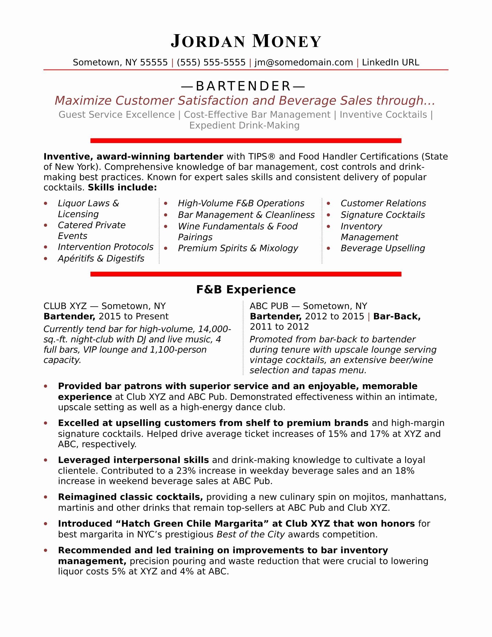 25 Free Bartender Resume Templates in 2020 Downloadable