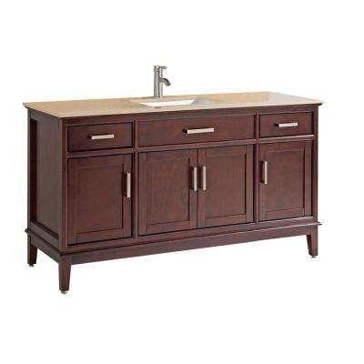 Sohar 48 In W X 22 In D X 39 In H Vanity In Tobacco With Quartz Vanity Top In White With White Basin Bathroom Single Bathroom Vanity Bathroom Vanity Base