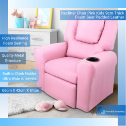 Incredible Recliner Chair Pink Kids 9Cm Thick Seat Padded Leather Andrewgaddart Wooden Chair Designs For Living Room Andrewgaddartcom