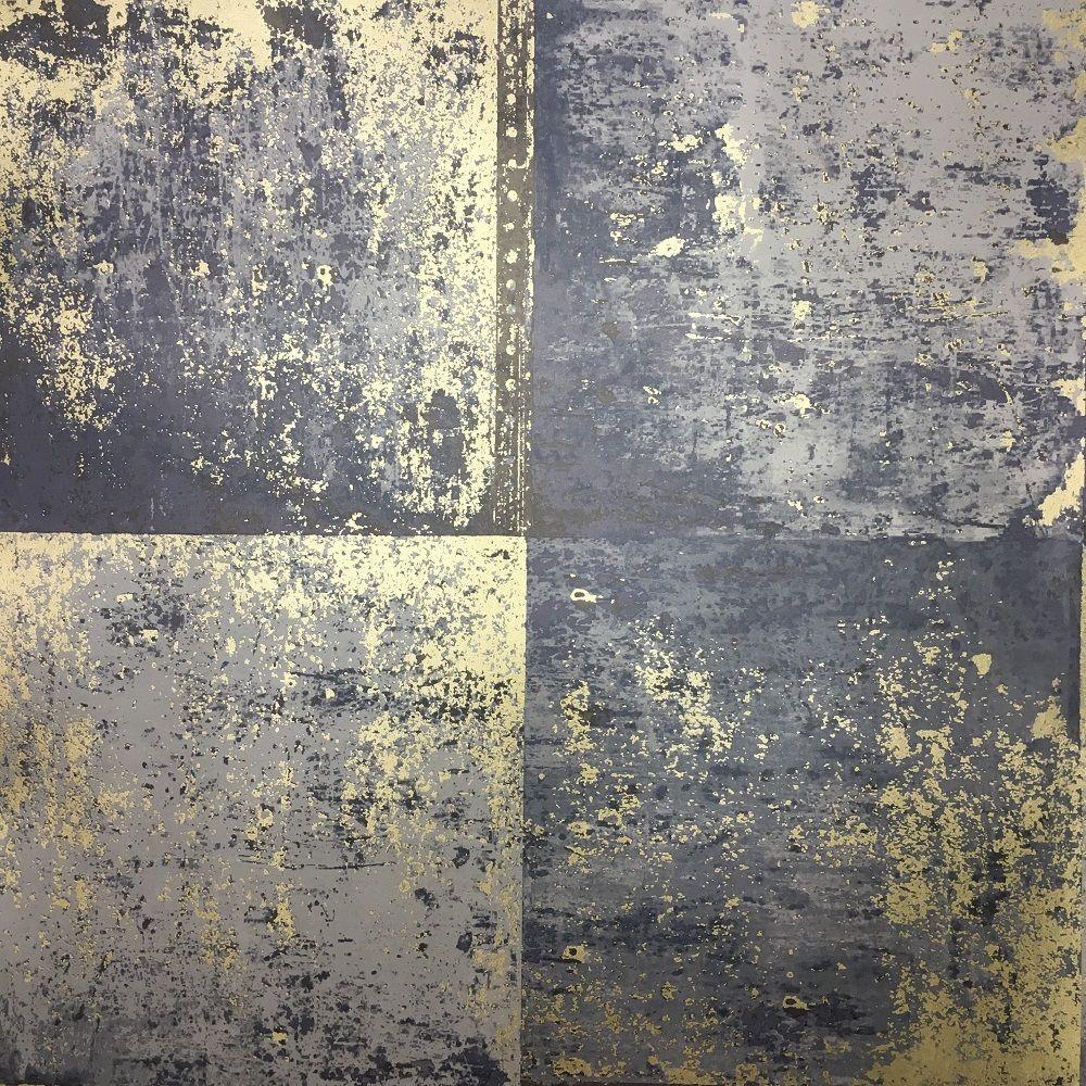 Holden Decor Metal Panel Blue/Gold Wallpaper Gold