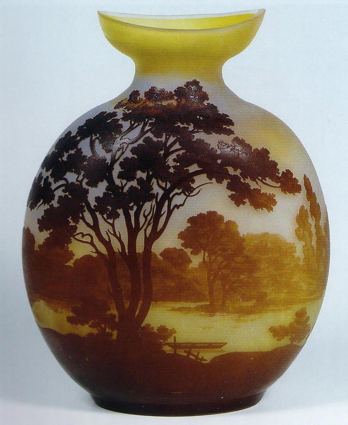 mile gall vaso in vetro cameo paesaggio con lago
