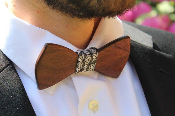 Sunny Home Mens Handmade Wooden Pre Tied Bowtie Wood Wedding Tie Bow Tie