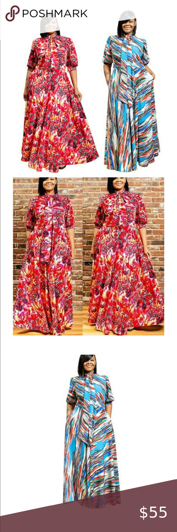 Long Printed Maxie Dress W Pockets Stripped Maxi Dresses Brown Maxi Dresses Peasant Style Dress [ 1740 x 580 Pixel ]