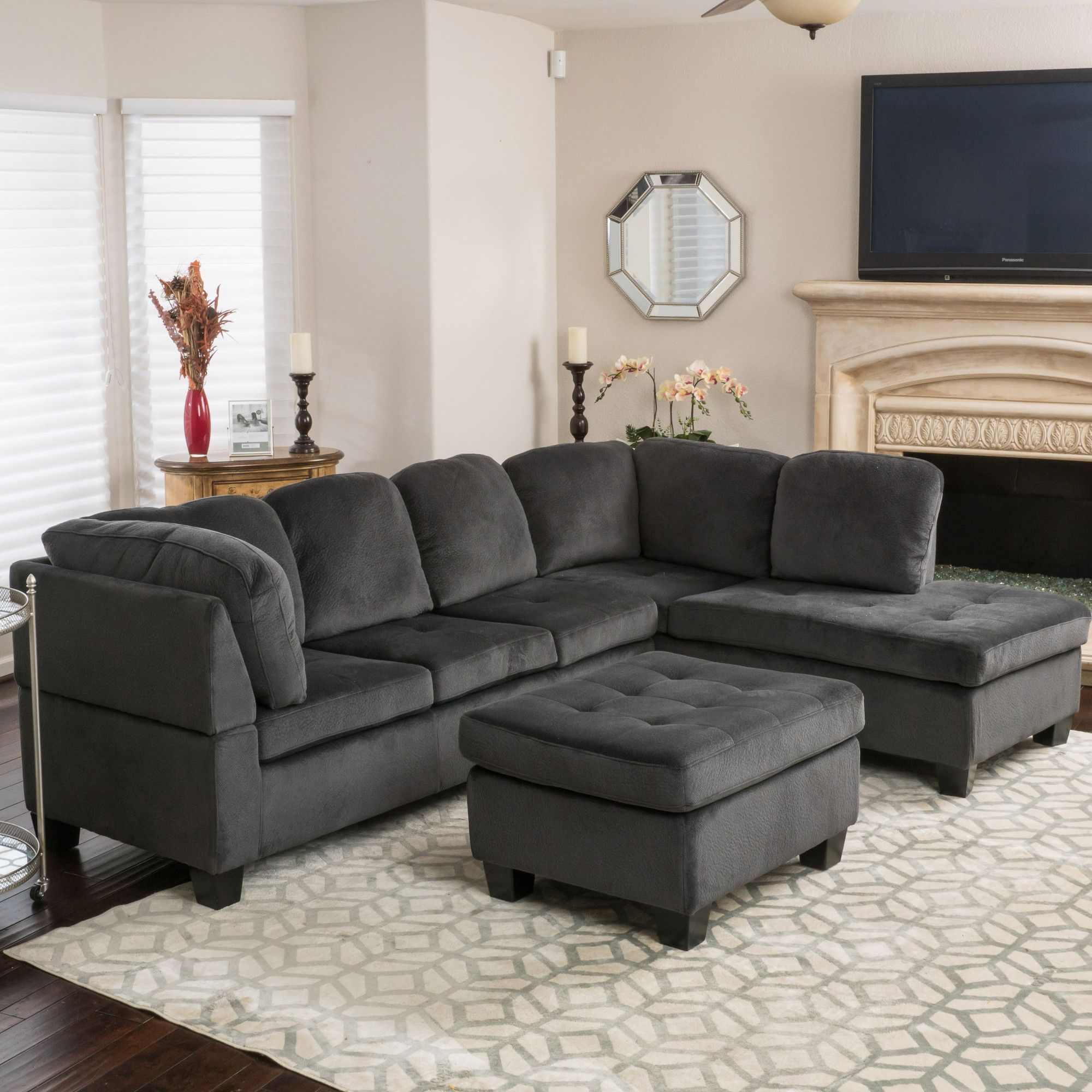 ottoman for living room%0A Features  Includes    Threeseat sofa    chaise lounge  and   ottoman   Orientation  Right Facing