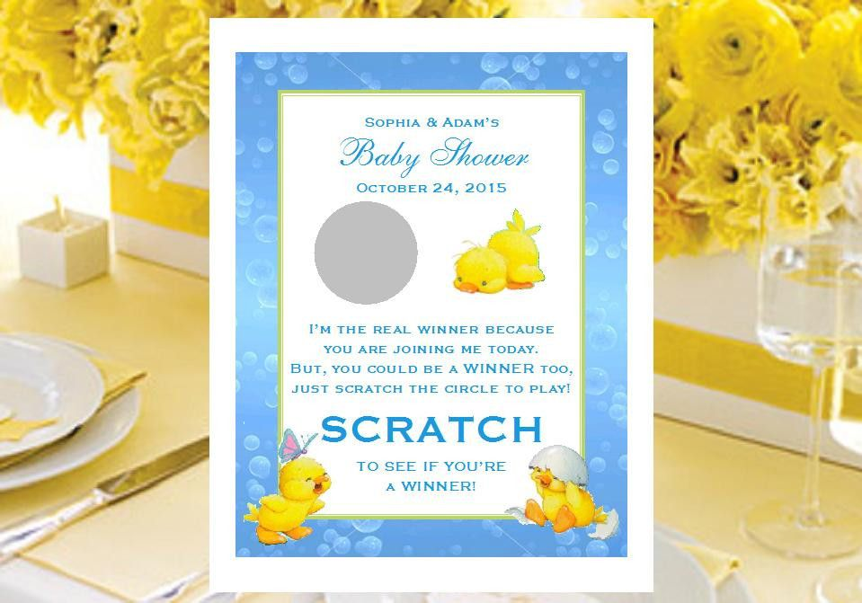 Duck Baby Shower Rubber Ducky Scratch Off Game Cards
