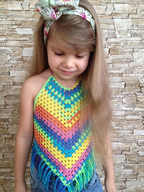Rainbow crochet baby toddler top Bohemian fringe top Festival crop top Clothing for kids Granny beach top Open back top Colorful crochet top