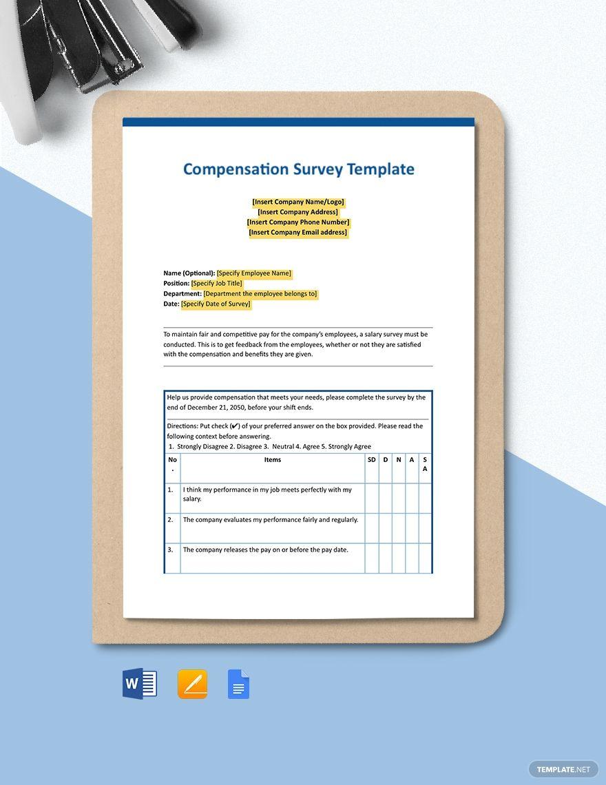 Compensation Survey Template Word Google Doc Apple Mac Pages Survey Template Survey Template Word Templates