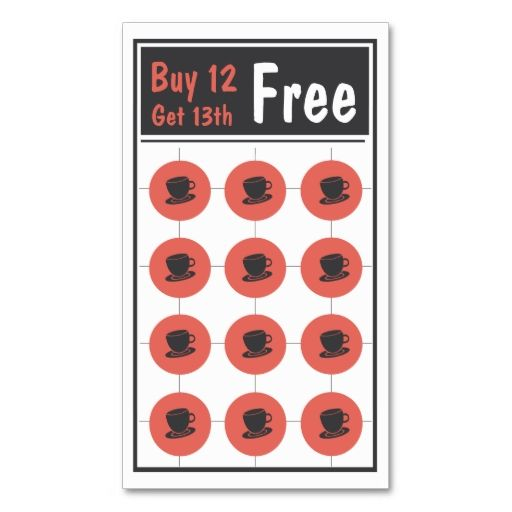 coffee loyalty punch card business card business cards coffee and business. Black Bedroom Furniture Sets. Home Design Ideas