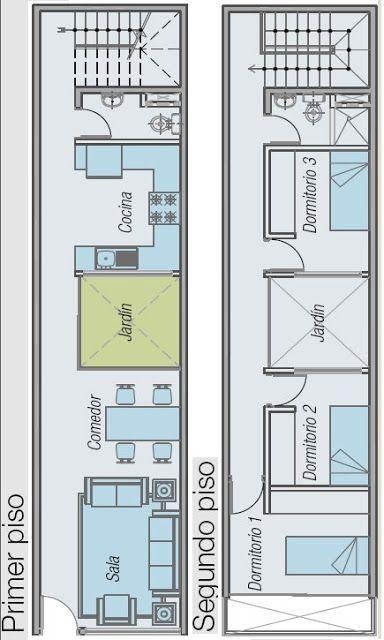 Planos de casa para terreno angosto y largo 52 5 m2 en 2 for Planos de casas de un piso gratis