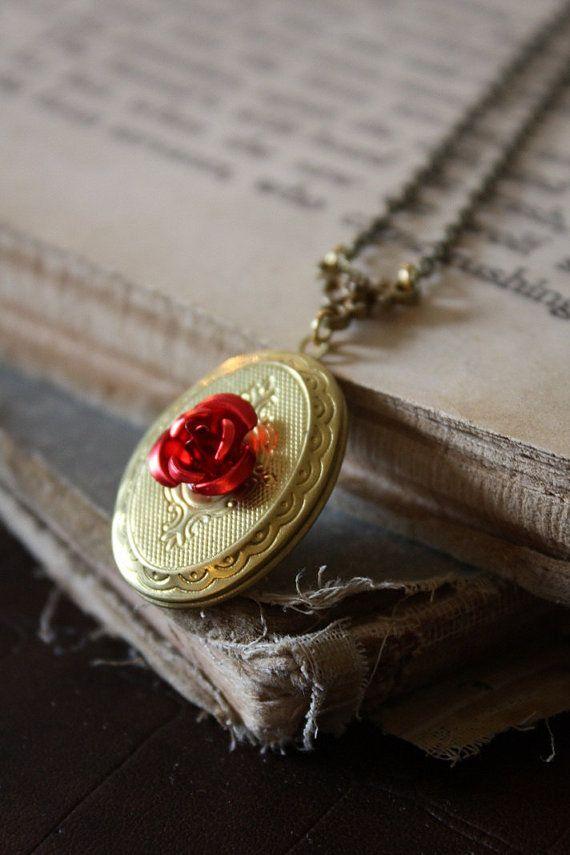 7bf9f8652bb Beauty & the Beast necklace locket! | Κοσμήματα | Κοσμήματα, Ρούχα ...
