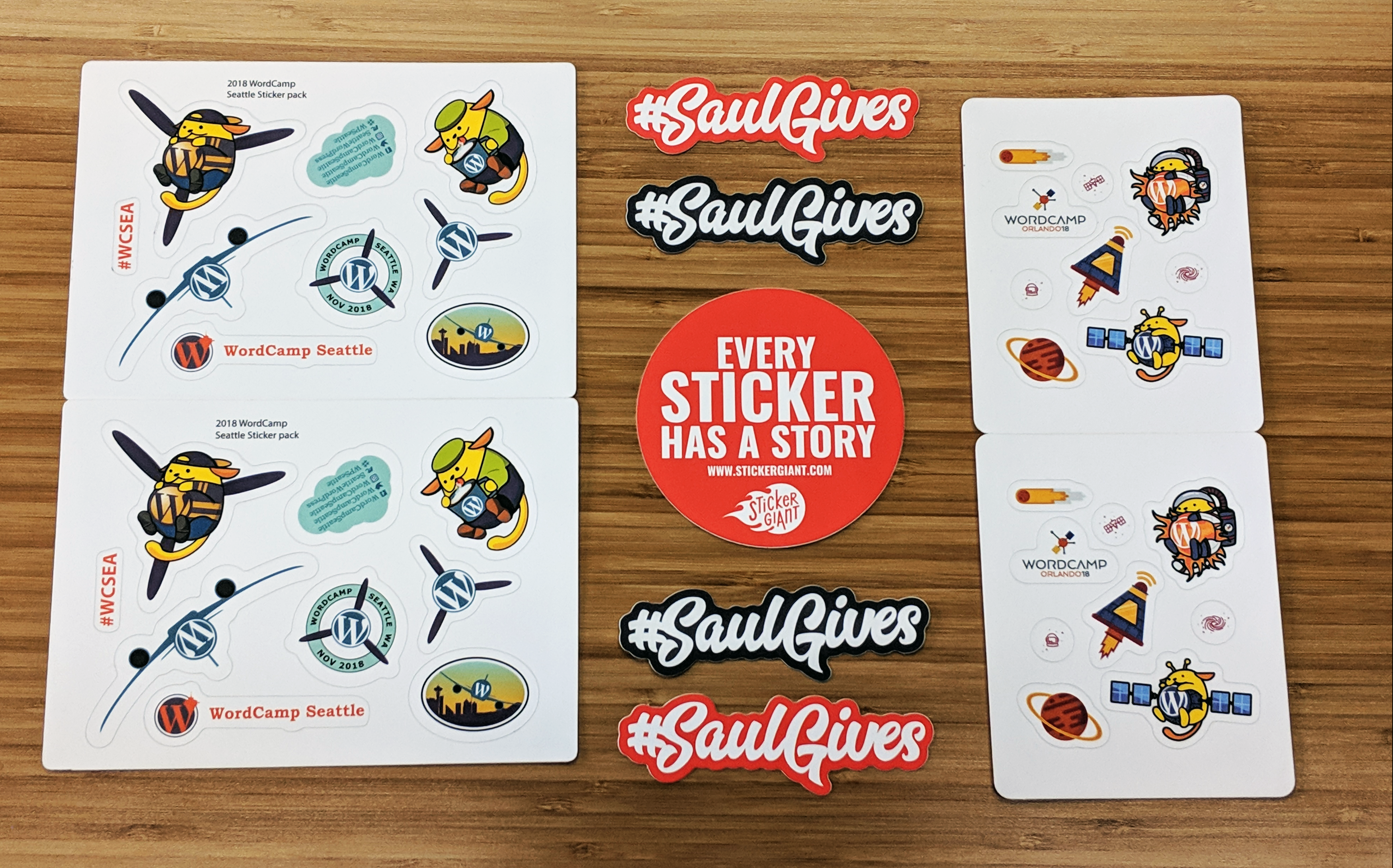Wordcamp orlando blasts off with astronaut wapuu sticker sheets while wordcamp seattle takes flight with an aeroplane wapuu both of these event stickers
