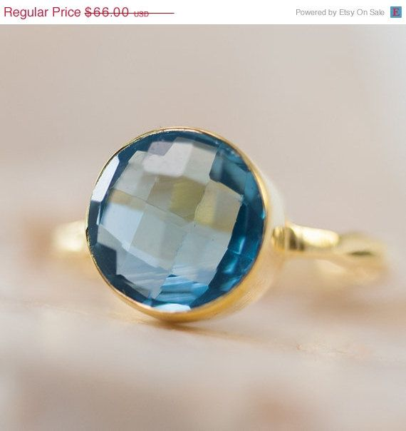 SALE - December Birthstone - Blue Topaz Ring - Bezel Ring - London Blue Topaz Ring - Gemstone Ring- Gold Ring - December Birthstone -