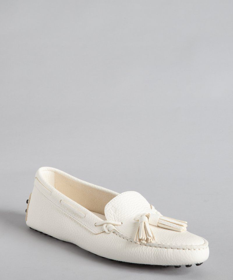7166337e0a6 Tod s women s white grained leather  New Gommini  tasseled loafers ...