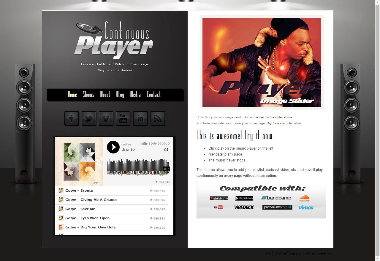 Continuous Player from Aloha Themes - a beautiful wordpress theme ...