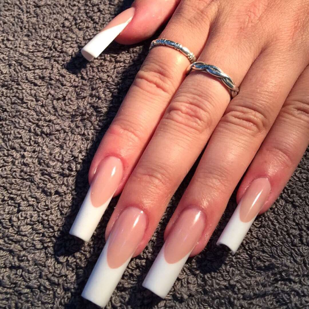 Competition style pink and white acrylic extensions. | Nails ...