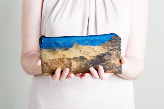 Desert Pencil Zipper Pouch. Mountains Nature Print by LeeCoren, $25.00 -image printed both sides of this pouch was photographed by Lee in the Arizona, USA, desert.