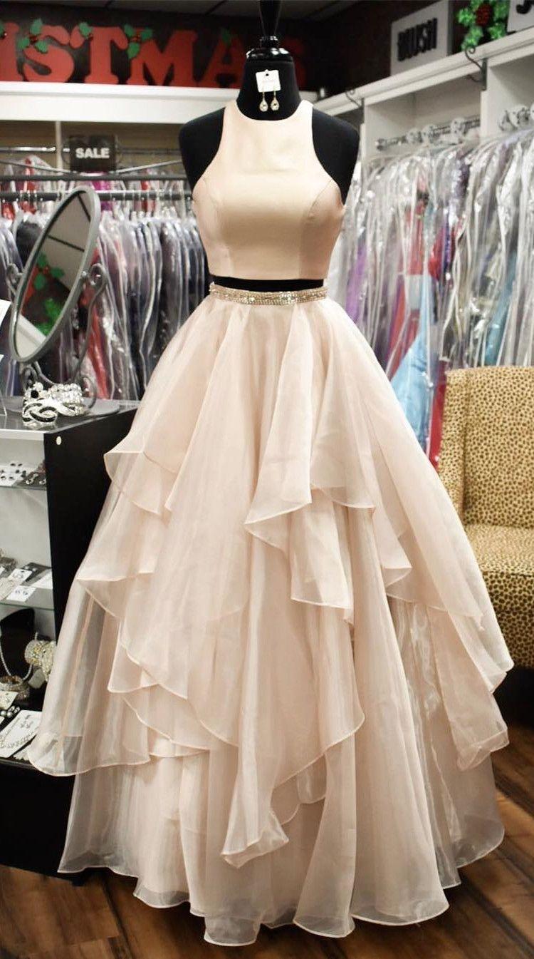 2018 Simply Two Piece Long Prom Dress Peach Prom Dress Princess