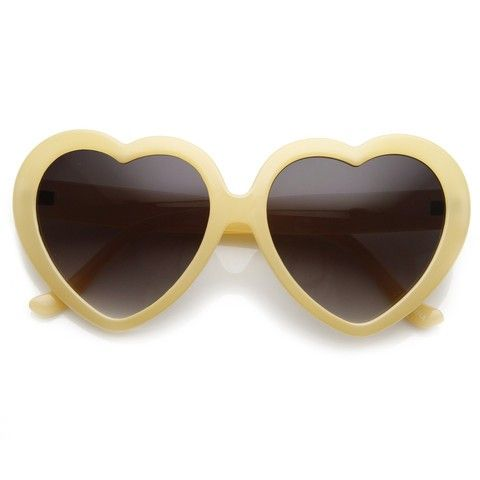1edea0c31bb Cute Heart Shaped - Pastel - Yellow Sunglasses.