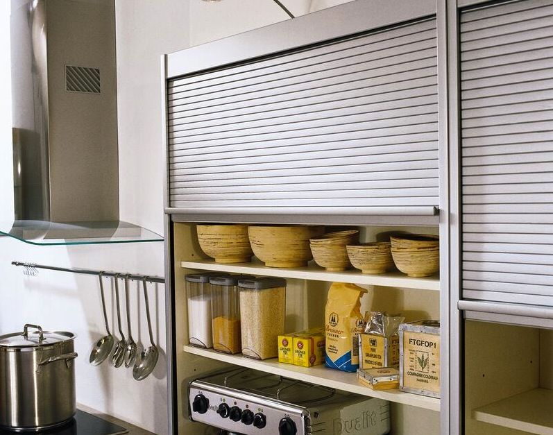 Tambour Roller Blinds Metal Doors For Kitchen Cabinets Kitchen