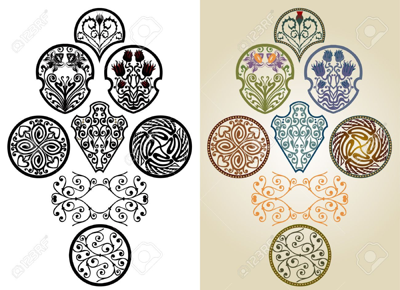 Art nouveau pattern collection label brand royalty free for Art nouveau shapes