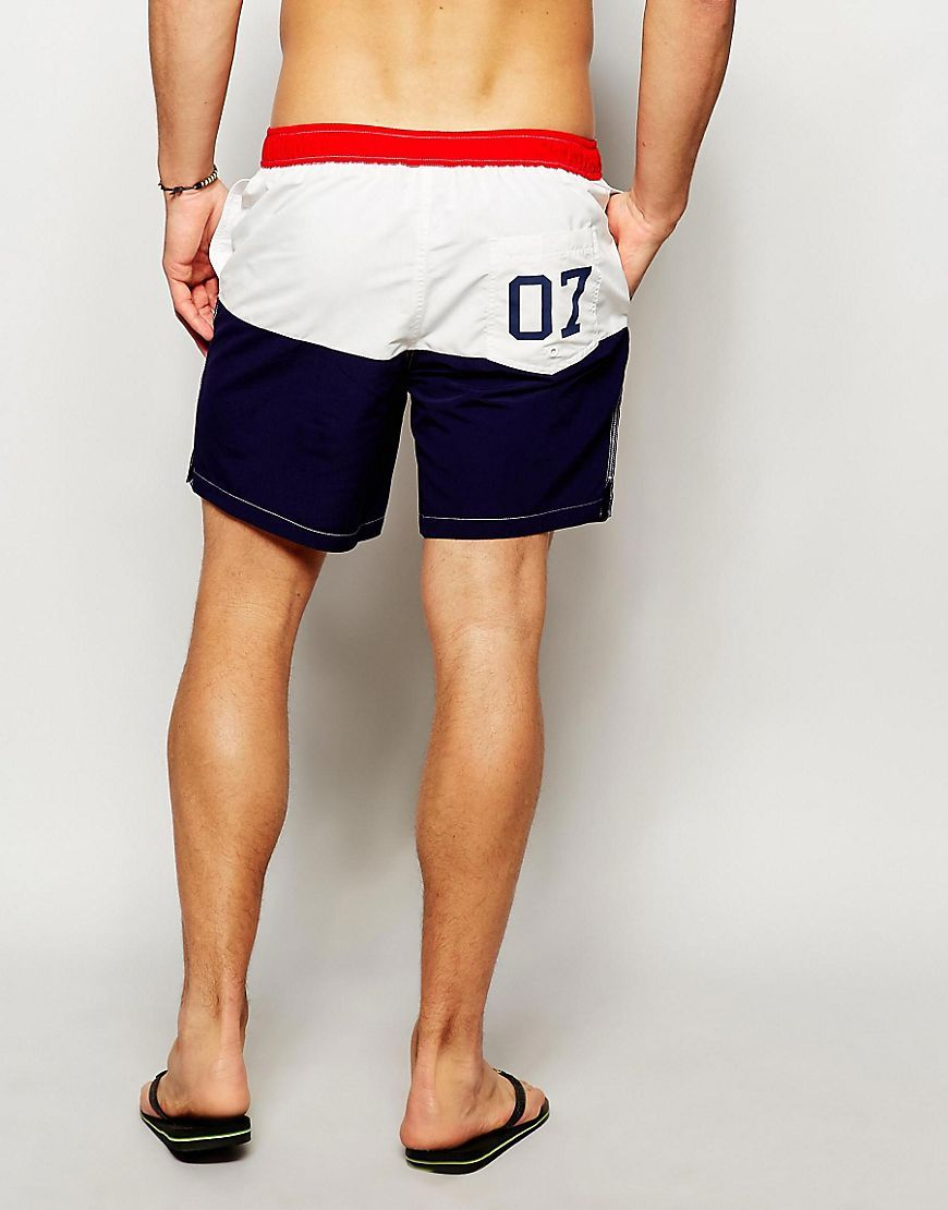 Image 2 of ASOS Mid Length Swim Shorts With Front Fixed Waistband And Printed  Pocket