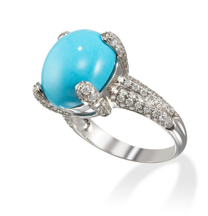 diamond and turquoise white gold ring