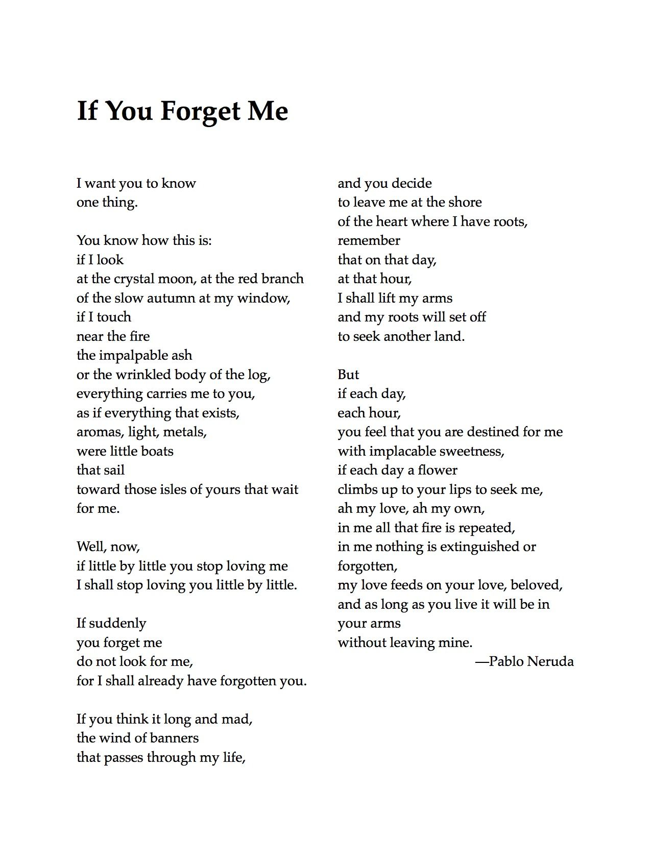 pablo neruda poems if you forget me