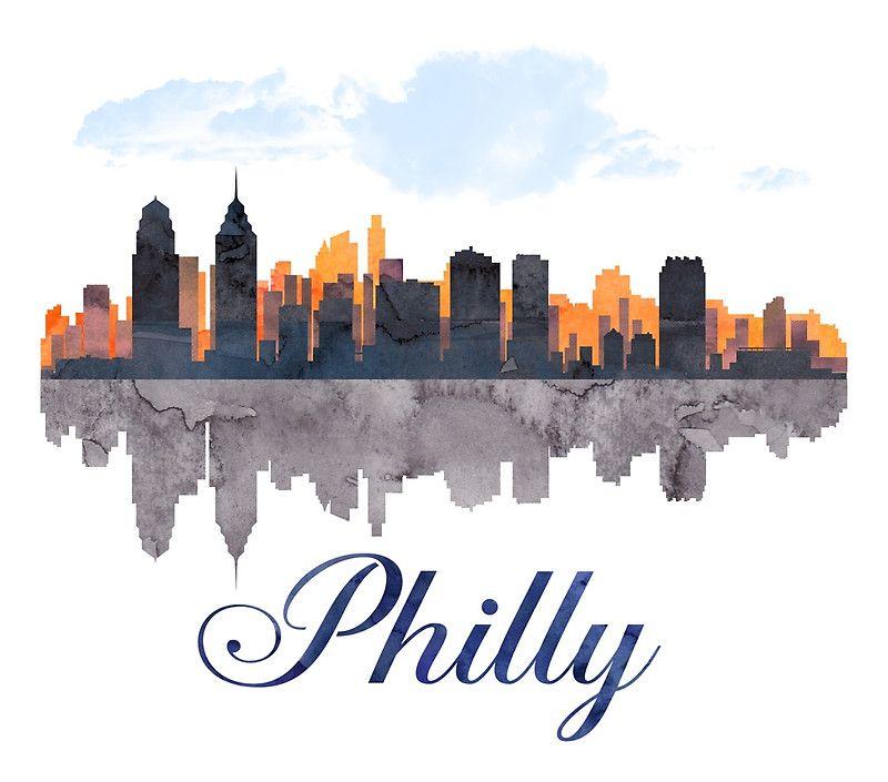 Philadelphia Skyline Pennsylvania Watercolor Poster By T Shirtsgifts Philadelphia Skyline Skyline Drawing Skyline Art