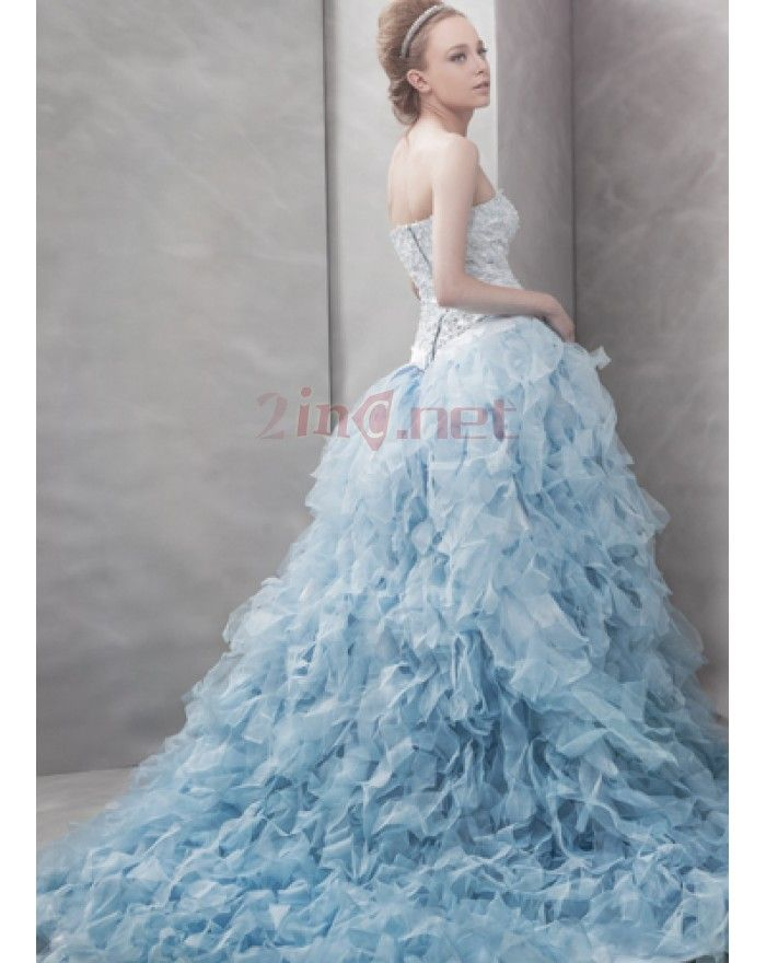 Photoshoot dress with white ivory sash pure strapless for Ice blue wedding dress
