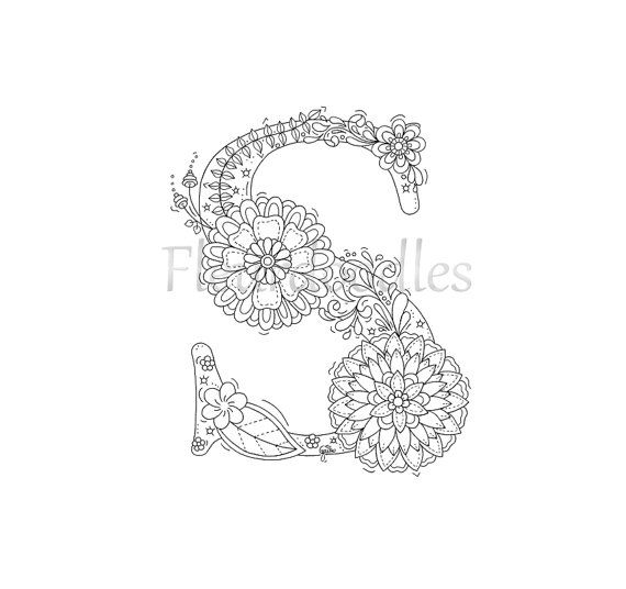 adult coloring page - floral letters, alphabet S, hand lettering ...