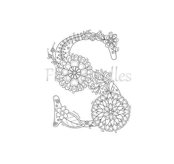 Zen Coloring Pages Pdf : Adult coloring page floral letters alphabet s hand